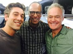The big 3 network anchors, David Muir (ABC), Lester Holt (NBC) and Scott Pelley (CBS) pose together in Jacksonville as they covered Hurricane Matthew for their nightly newscasts courtesy of @LesterHoltNBC on Twitter
