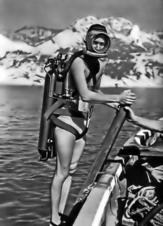 Vintage Full Mask Scuba Diver Photo