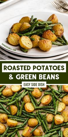 Roasted Potatoes and Green Beans are a delicious addition to any meal with chicken, beef or fish. You need just a few simple ingredients and one sheet pan for this easy side dish! Side Dishes For Chicken, Best Side Dishes, Healthy Side Dishes, Vegetable Side Dishes, Side Dish Recipes, Healthy Appetizers, Appetizer Recipes, Healthy Recipes, Easy Recipes