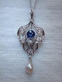 Gorgeous Antique Edwardian Platinum 18K Blue Sapphire Diamond Lavalier Pendant Belle Epoque