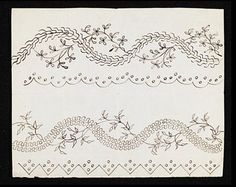 Two designs for embroidered borders to petticoats and open gowns, 1780s. Museum no. E.246-1973