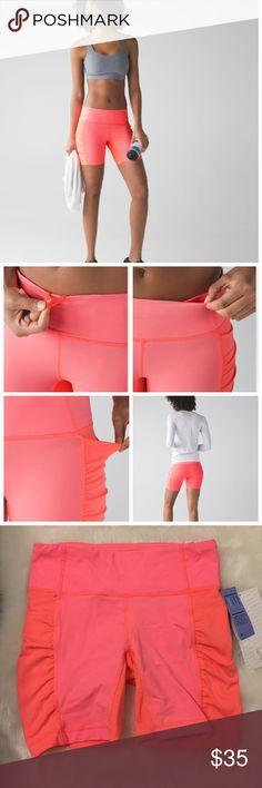 "Lululemon Speed Track Short *Grapefruit Lightweight and leg hugging track short. Cool grapefruit color-so springy! More description on last pic.   Measurements: laying flat---waist 12.5"", length 13.75"", inseam 6"". lululemon athletica Shorts"