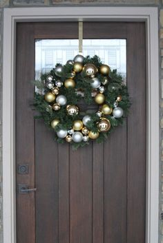 Gold and silver ornament wreath from Pottery Barn