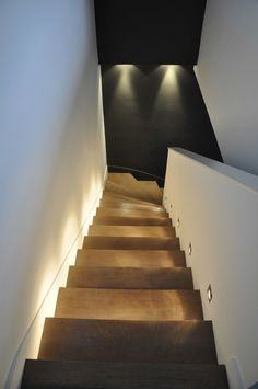 Cool bega lighting in Modern black floor stair lighting white walls wood stairs wood tread with Recessed Lighting Placement next to Led Shower Light alongside Basement Lighting and Staircase Lighting Stairway Lighting, Basement Lighting, Cool Lighting, Lighting Design, Lighting Ideas, Wood Stairs, Basement Stairs, Open Basement, Basement Ideas