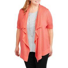 Faded Glory Women's Plus-Size Waterfall Sweater Shrug - Walmart.com