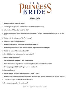 The Princess Bride Short Quiz-Cottage in the Oaks