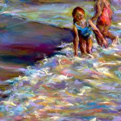 WAVES + GIGGLES - 6 x 6 seascape pastel by Susan E. Roden -- Susan Roden