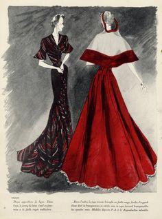 Paquin 1938 Leon Benigni, Fashion Illustration, Evening Gown