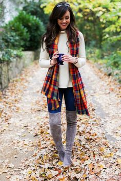 Cream sweater + plaid scarf + skinny jeans + over the knee suede boots
