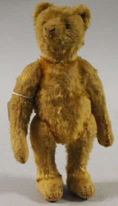 7A: Small Steiff Mohair Bear, Germany, c. 1915, golden : Lot 7A