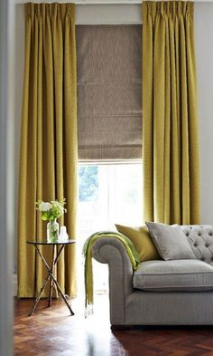 Home Decorating Trends 2019 - Mustard Yellow! - Home Decorating Trends 2019 – Mustard Yellow! – Home Decorating Trends 2019 – Mustard Yellow! Mustard Living Rooms, Living Room Grey, Living Room Furniture, Living Room Decor, Barn Living, Curtains Living, Curtains With Blinds, Roman Blinds, Gold Curtains