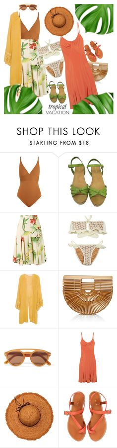"""""""Welcome to Paradise: Tropical Vacation"""" by weird-betty ❤ liked on Polyvore featuring Eres, Prada, Isolda, Jens Pirate Booty, Cult Gaia, Tom Ford, Z Spoke by Zac Posen, La Fiorentina and Jigsaw"""