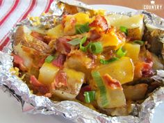 Cheddar Bacon Potato Packets are cooked in foil over a grill or a campfire or even in your oven! Tons of flavor and everyone loves them!