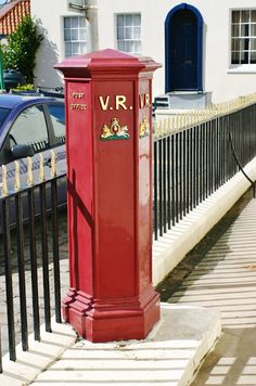 The oldest pillar box still in use in the British Isles, 1853 in Union Street, St Peter Port, Guernsey, Channel Islands