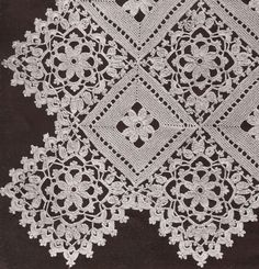 Vintage Crochet PATTERN to make Block Lace Flower Bedspread Motif Pillow BlockLa