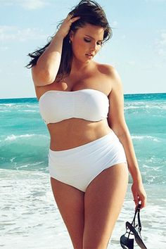 White bikini from Swimsuits For All. Convertible bandeau halter top. | well, I'm not sure about white, but cute style