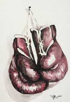 ORIGINAL Boxing Gloves Watercolor Painting by EbbAndFlowWatercolor