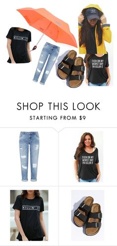 """""""Rainy day outfit"""" by labellavitaboutique on Polyvore featuring Miss Selfridge, Birkenstock and Kipling"""