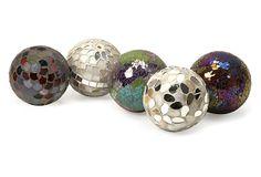 One Kings Lane - The Decor Shop  - Abbot Mosaic Deco Balls, Asst. of 5