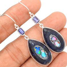 Ethiopian Opal In Sodalite 925 Sterling Silver Earrings Jewelry SE114515 | eBay