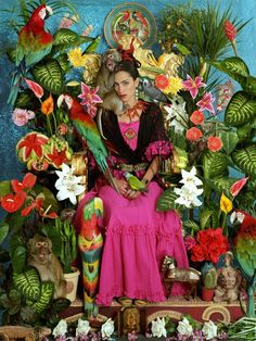 ❀ Flower Maiden Fantasy ❀ beautiful photography of women and flowers - Frida-inspired Appropriation Art
