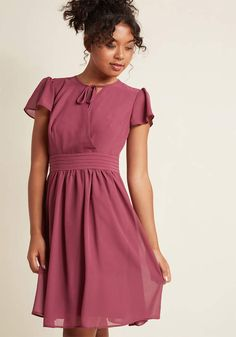 Surplice A-Line Dress with Flutter Sleeves in Jam in 2X - Cap Knee Length 512c05ac1594