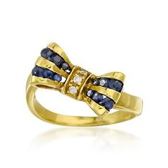 Sapphire Ring With Diamonds In 18kt Yellow Gold