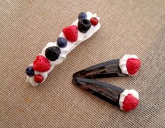 Red Fruit In Whipped Cream Hair Barrette by EvasCreationsShop Polymer Clay Creations, Handmade Polymer Clay, Wipped Cream Frosting, French Hair, Red Fruit, Hair Barrettes, Whipped Cream, Blueberry, Raspberry