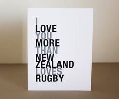 Rugby Sport Greeting Card I Love You More Than por HopSkipJumpPaper