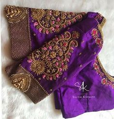 Pattu Saree Blouse Designs, Fancy Blouse Designs, Bridal Blouse Designs, Blouse Neck Designs, Blouse Styles, Zardosi Work Blouse, Hand Work Blouse Design, Stylish Blouse Design, Seda Sari