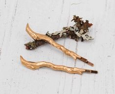 GOLD Branch Bobby Pin Set Twig Forest Fairy  Oh dear, this could mean super spending