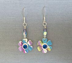 handpainted flower dangle earrings by SpringTideJewelry on Etsy