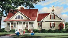 Home Plan HOMEPW77650 - 2533 Square Foot, 4 Bedroom 3 Bathroom Country Home with 2 Garage Bays   Homeplans.com