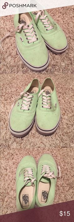 Mint Vans Worn Mint colored Vans. They need a good cleaning, as you can see! They've been sitting in my closet and have collected dust! Please see all pictures and ask questions before purchase! Men's size 8,Women's size 9.5 Vans Shoes Sneakers