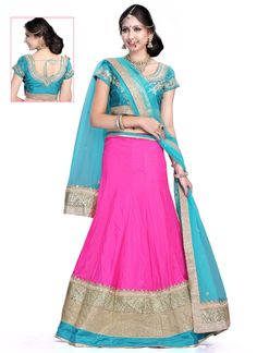 http://www.sareesaga.in/index.php?route=product/product&product_id=22153 Work	:	Embroidered Patch Border Work Resham Work Zari Work	Style	:	A - Line Lehenga Shipping Time	:	10 to 12 Days	Occasion	:	Festival Reception Fabric	:	Art Dupion Silk	Colour	:	Hot Pink For Inquiry Or Any Query Related To Product, Contact :- 91-9825192886, +91-7405449283