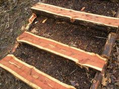 Wooden Outdoor Stairs and Landscaping Steps on Slope, Natural Landscaping Ideas