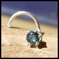 3mm Mystic Topaz Nose Stud set in sterling silver by RockYourNose