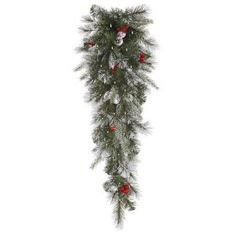 """36"""" Pre-Lit Frosted Pine Berry Artificial Christmas Teardrop Swag - Clear Lights"""