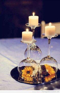 Idée déco mariage pas cher, verre de vin à l'inverse, centre de table