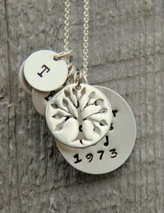 Personalized Family Tree Necklace Anniversary by whiteliliedesigns, $79.50