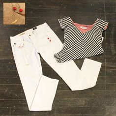 Friday at Fernbank After Dark Red/Black Reversible Stripe SS Top by Bailey 44 $132 White Stilt Cigarette Leg Jeans by AG $78 Red Crystal Drop Earrings by Isobel $42 Fashion Statement Necklace $34