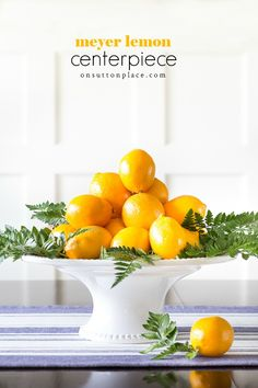 Make this fresh and beautiful meyer lemon centerpiece with items found at the grocery store and in way under 20 minutes! Quirky Home Decor, Natural Home Decor, Affordable Home Decor, Unique Home Decor, Cheap Home Decor, Hallway Decorating, Entryway Decor, Tv Decor, Fall Decor