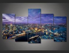 5 Pieces Multi Panel Modern Home Decor Framed London Night Scenery Wall Canvas…