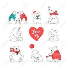 Illustration of Merry Christmas greetings with bears. Hand drawn polar bear, cute bear set, mother and baby bears, couple of bears vector art, clipart and stock vectors. Polar Bear Illustration, New Year Illustration, Christmas Illustration, Cute Polar Bear, Cute Bears, Baby Bears, Polar Bears, Merry Christmas Greetings, Christmas Greeting Cards