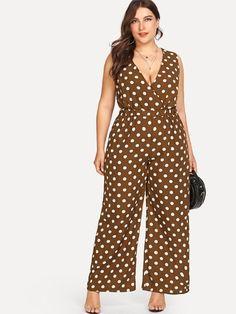 5cb11ae72fd1 V Neckline Polka Dot Jumpsuit -SheIn(Sheinside) Curvy Fashion