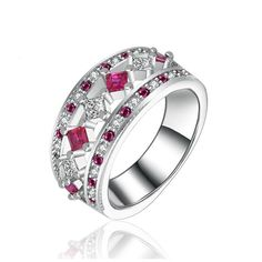 New Red Colored Square Cubic Zirconia Solid 925 Sterling Silver Individuality Rings