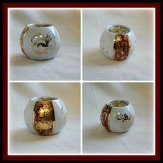 Dernières créations en peinture sur porcelaine : Petit bougeoir sous tous les côtés avec décalcomanies dorées et incrustation n°6...