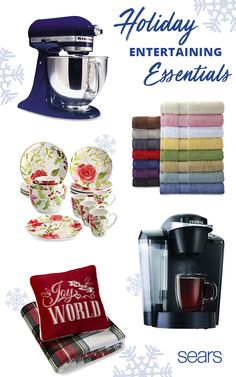 Sears has holiday entertaining essentials for a festive Christmas season! The KitchenAid Stand Mixer handles a variety of your baking and cooking needs. Cannon bath towels add a touch of color to any bathroom. This Paula Deen Dinnerware set is inspired by Southern gardens and feature motifs of iconic holiday flowers. Treat your guests to a fresh cup of coffee every time with a Keurig coffee maker. Finally, your guests can snuggle up in festive style with a pillow and throw set from Cannon.