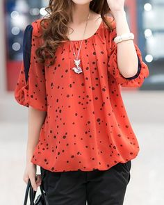 Cheap blouses for women, Buy Quality blouses plus directly from China shirt blouse Suppliers: Hot Sale 2018 Spring/Summer Women's Shirts Top Polka Dot Chiffon Half Sleeve Loose Fat Shirt Blouse For Women Plus Size M-XXXXL Orange Outfits, Top Chic, Stylish Dress Designs, Casual Outfits, Fashion Outfits, Shirt Blouses, Women's Shirts, Blouses For Women, Polka Dot