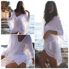 New Women Lady Lace Beach Swimsuit Swimwear Bikini Boho Cover Up Dress - Con estilo - Bikini Boho, Bikini Swimwear, Swimsuits, Bikini Beach, Thong Bikini, Outfit Strand, Summer Dresses For Women, Summer Outfits, Honeymoon Outfits
